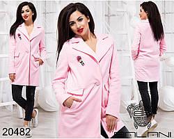Весеннее шерстяное пальто на пуговице Производитель Украина интернет-магазин женской одежды Россия СНГ р.42-46