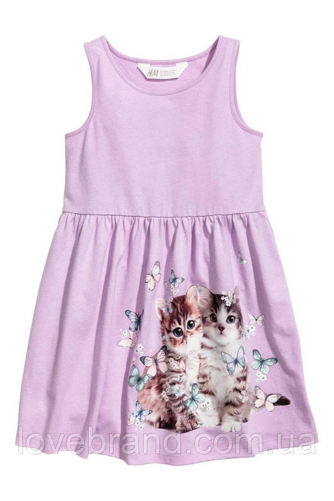 Летнее платье H&M на бретели сиреневое с котёнками