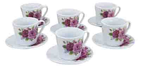 Набор чашек на 6 персон Пионы, 125 мл ( чайный сервиз )