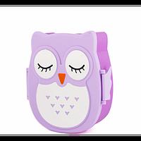 Ланч бокс Сова – Детский Пищевой контейнер + ложечка Фиолетовый