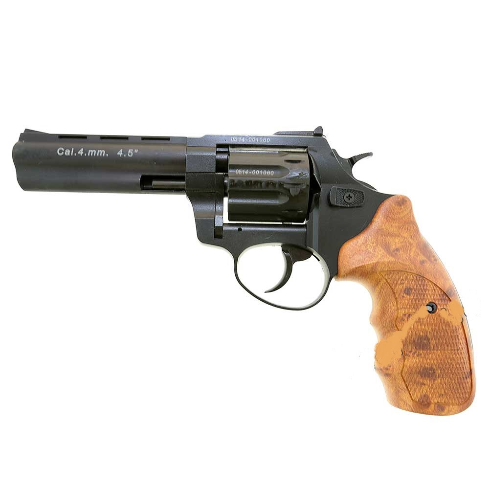 "Револьвер под патрон Флобера Stalker 4.5"" black пластик под дерево"