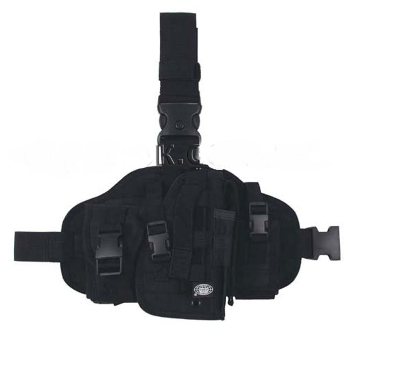 Кобура набедренная MFH с платформой и подсумками, черная