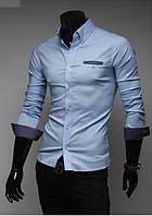 Мужская рубашка голубая в горошек 44р.