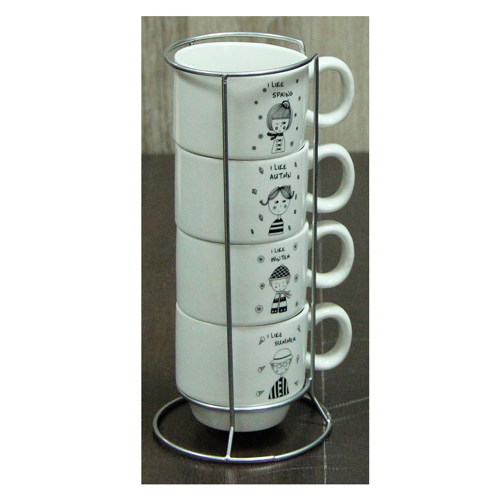 Набор кофейных чашек на подставке Детский сад, 150 мл