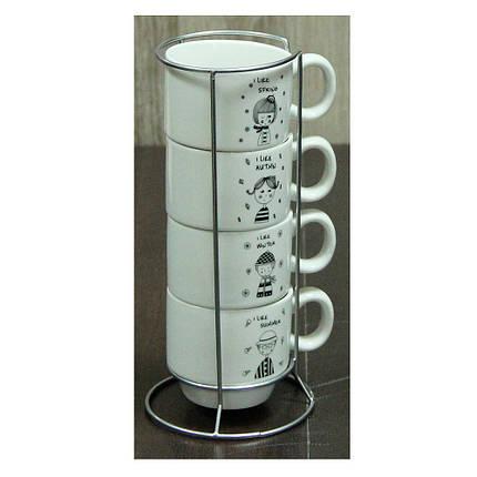 Набор кофейных чашек на подставке Детский сад, 150 мл , фото 2