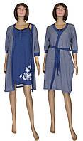 Комплект пеньюар трикотажный 02112 Fanny, ночная рубашка и халат, р.р.44-54, фото 1