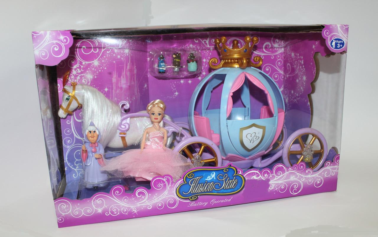 Карета с Золушкой,старушкой волшебницей,лошадью и мышками