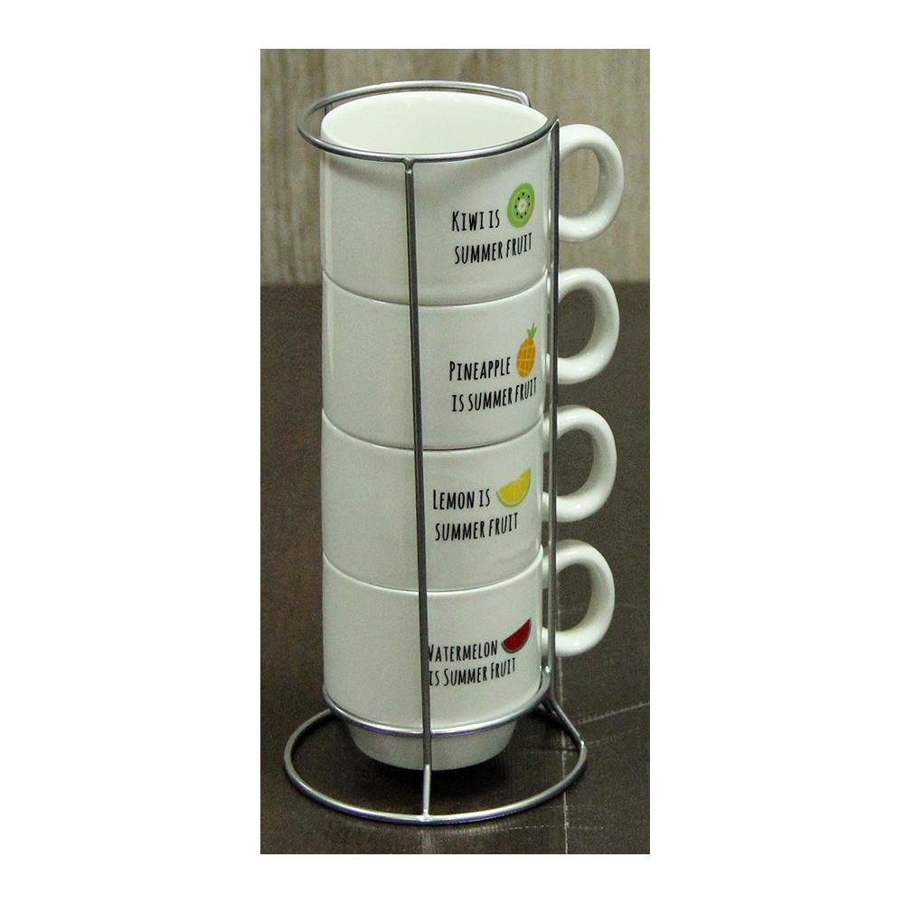 Набор чашек для кофе на подставке Летние Фрукты, 150 мл