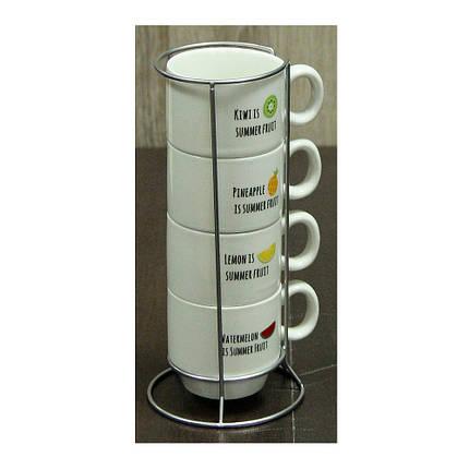 Набор чашек для кофе на подставке Летние Фрукты, 150 мл , фото 2