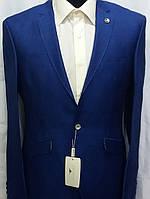 Мужской пиджак цвета индиго из полированной шерсти F12plus