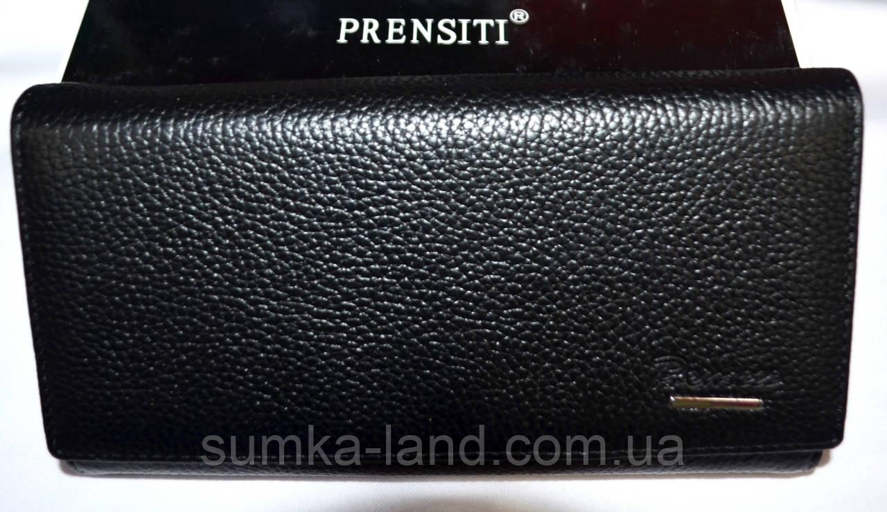 Женский черный кошелек из натуральной кожи Prensiti на кнопке