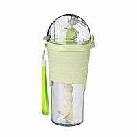 Бутылка с шейкером и трубочкой 500 мл зеленая ( пластиковые бутылки )