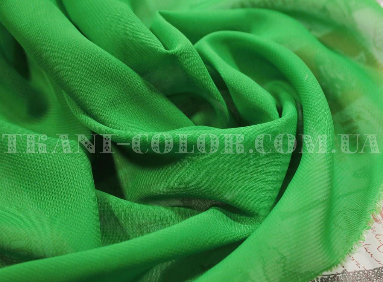 Ткань шифон зеленый
