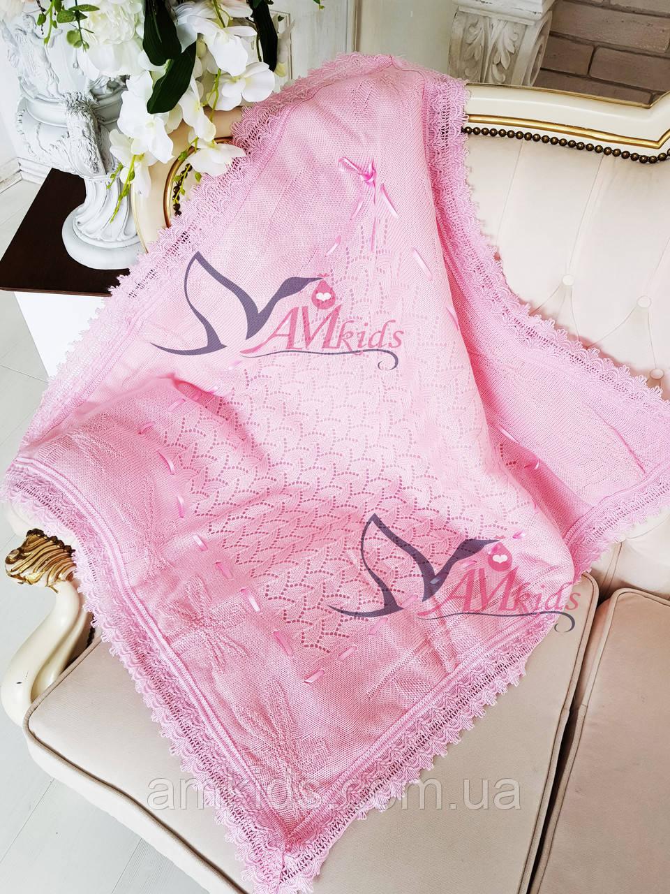 детский вязаный плед для новорожденного аист розовый цена 240