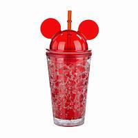 Стакан для воды с крышкой Микки Маус Ice Cup 450 мл красный ( бутылка )