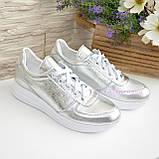 Туфли женские кожаные на утолщенной белой подошве, цвет серебро., фото 4