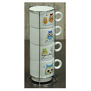 Набор кофейных чашек на подставке Совы, 150 мл , фото 2