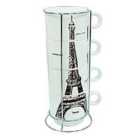 Набор кофейных чашек на подставке Эйфель, 150 мл
