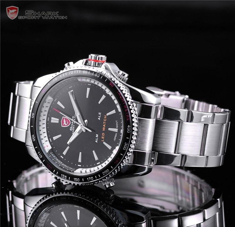 Наручные мужские часы SHARK Sport Stainless Steel, минеральное стекло, водонепроницаемые