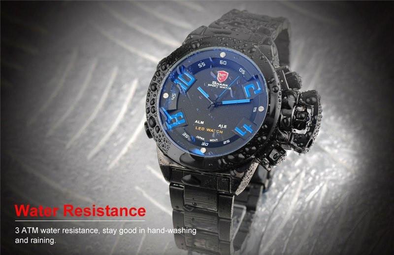Мужские часы SHARK Men LED Blue Digital Day Date, минеральное стекло, японский механизм