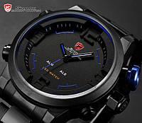 Мужские часы Shark Digital LED Sport Watch Black Blue, водонепроницаемые, минеральное стекло