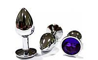 Анальная пробка с цветным камнем + чехол в подарок