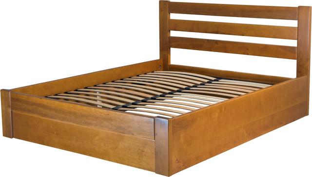 На фото: деревянная двуспальная кровать с ортопедическим основанием (подъемный механизм)
