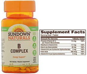 Sundown Naturals, B-комплекс (Витамины группы B), 100 таблеток