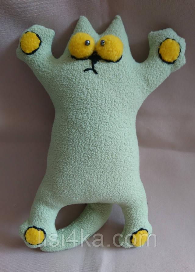 Интерьерная текстильная игрушка кот Саймон мятного цвета