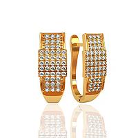 Золотые серьги дорожки с фианитами. СП310380