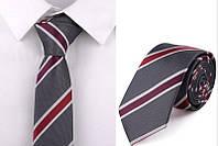 Галстук мужской серый в полоску ( галстук модный )