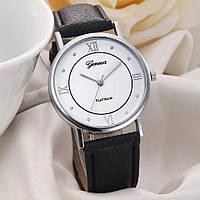 Часы женские наручные кварцевые Geneva PLATINUM с чёрным кожаным браслетом