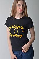 Женская черная футболка с принтом Сhanel