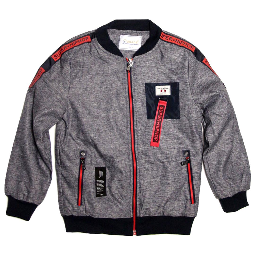 Короткая куртка бомбер для мальчика 6-9 лет Grace серая