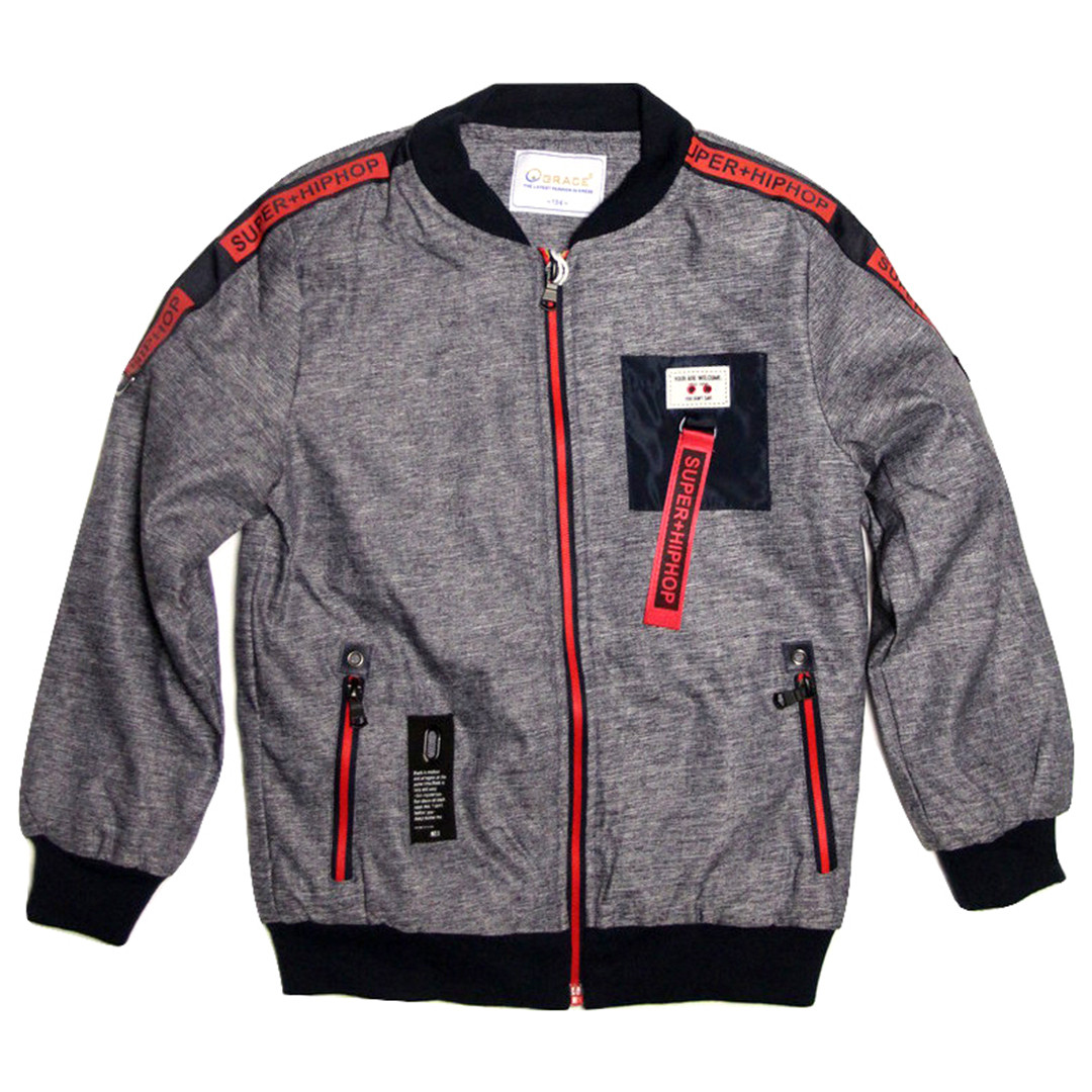 Куртка-бомбер демисезонная Grace для мальчика от 6 до 10 лет серая