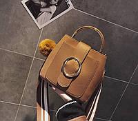 Маленькая женская сумка с круглой пряжкой рыжая, фото 1