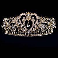 Свадебная диадема, корона, тиара на голову для невесты позолоченая 4758с-б