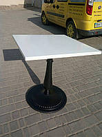 Квадратный стол 70 х 70 см. на чугунной ножке для ресторана, летней площадки кафе