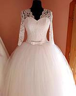 Пышное свадебное платье белое. Фатин. Рукав 3/4.