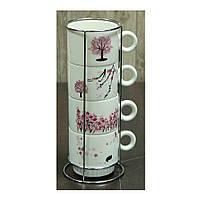 Чайный набор из 4 чашек на подставке Сакура, 250 мл