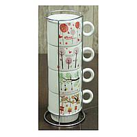 Чайный набор чашек на подставке Сезоны, 250 мл