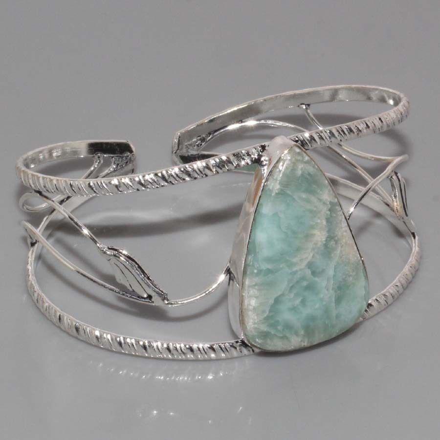 Браслет с ларимаром. Браслет-манжет с натуральным камнем ларимар (Доминикана) в серебре.
