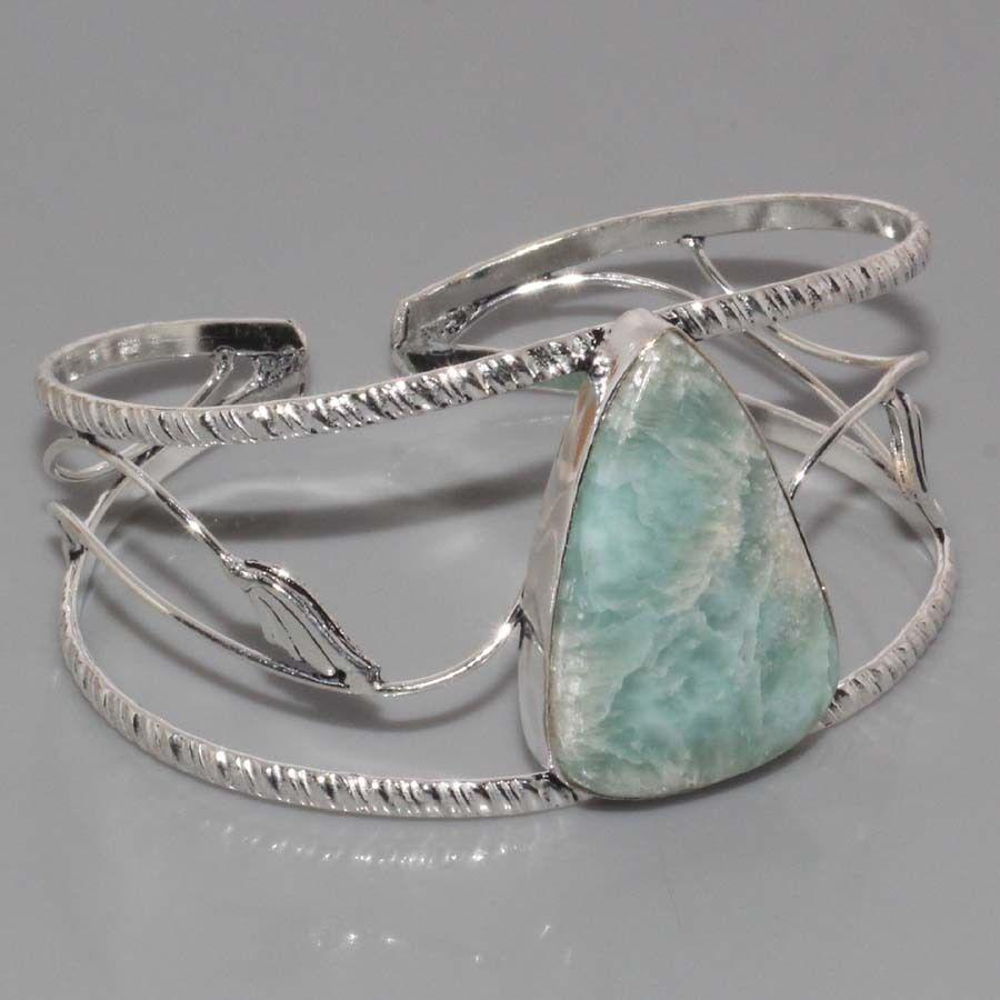 Браслет з ларимаром. Браслет-манжет з натуральним каменем ларимар (Домінікана) в сріблі.