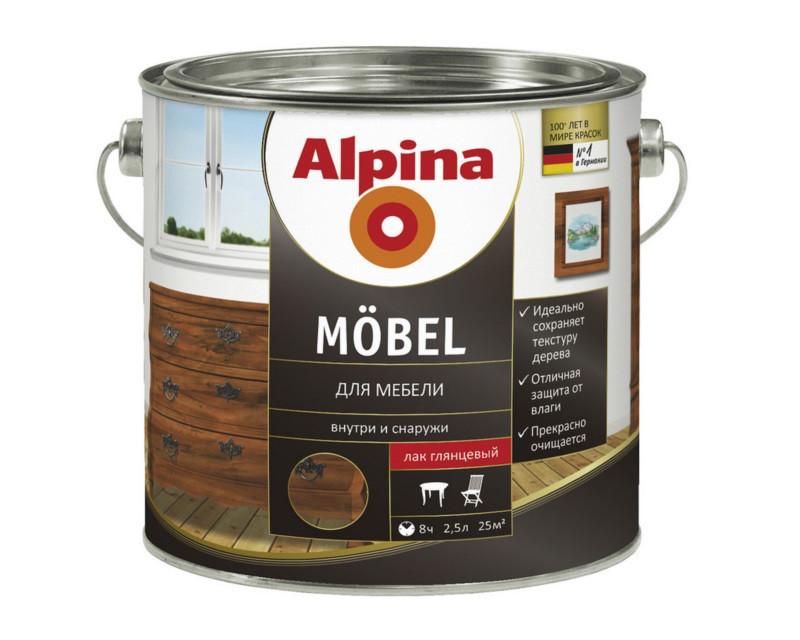Лак алкидный ALPINA MOBEL универсальный, глянец, 2,5л