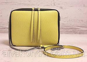 68-2 Натуральная кожа, Сумка женская кросс-боди, желтый (лимонный), фото 2