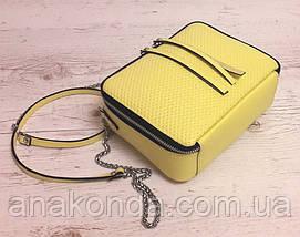 68-3 Натуральная кожа, Сумка женская кросс-боди, желтый (лимонный), фото 3