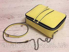 68-3 Натуральная кожа, Сумка женская кросс-боди, желтый (лимонный), фото 2
