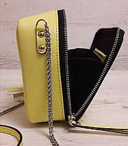 68-2 Натуральная кожа, Сумка женская кросс-боди, желтый (лимонный), фото 3