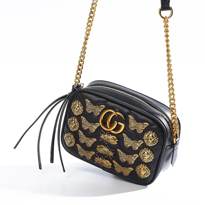 6fa05b77ec15 Женская сумка в стиле Gucci (Гуччи) с металлическими элементами черная -  PrettyLady.com