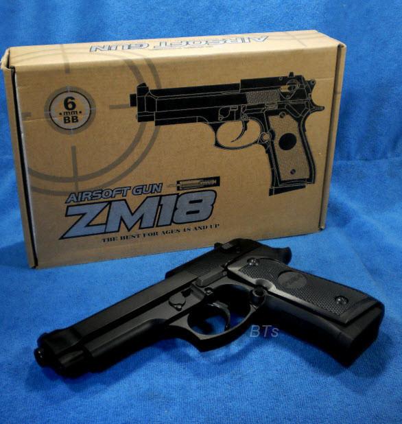 Детский спринговый пистолет (Beretta M92) ZM18, метал, точная копия, на пульках, игрушечное оружие, фото 1